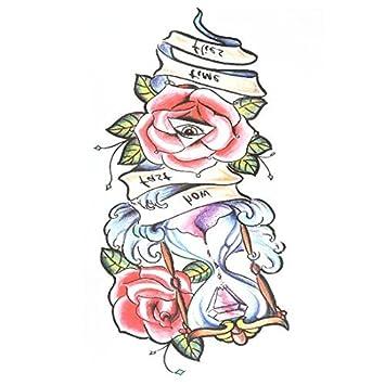 Papel del arte del modelo de reloj de arena DealMux flor Señora extraíble etiqueta de la etiqueta tatuaje temporal: Amazon.es: Belleza
