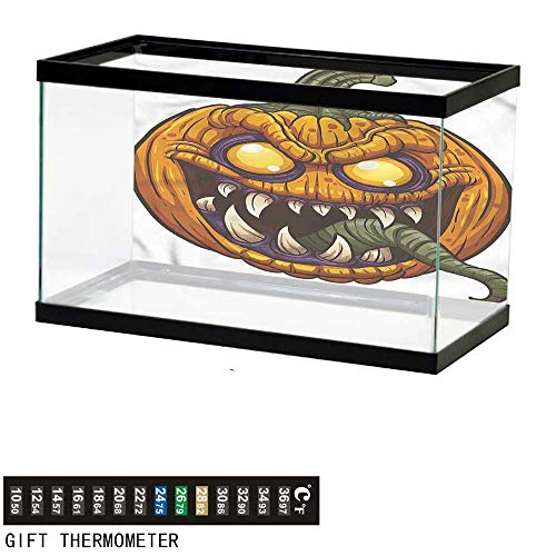 (bybyhome Fish Tank Backdrop Halloween,Scary Pumpkin Monster,Aquarium Background,36