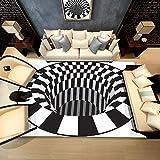 Hellofishly 3D Carpet Black and White Bold Block Like Patterns, Shaggy Fluffy Anti-Skid Area Rug Dining Room Carpet Home Bedroom Floor Mat