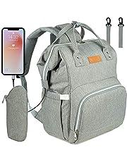 NEVEQ Baby luiertas voor het wisselen van rugzak, multifunctionele reisluiertas met USB, grote capaciteit met meerdere functies, grijs