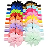 WillingTee 20 piece 3 Inch Grosgrain Ribbon Hair Bows Headbands for Baby Girls Infants Kids and Toddler