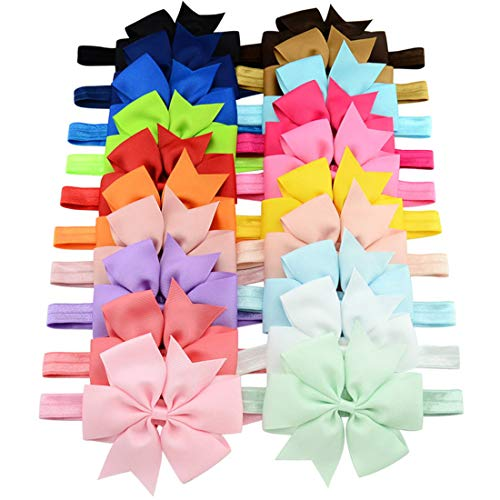 WillingTee 3 Inch Grosgrain Ribbon Hair Bows Headbands for Baby Girls Infants Kids and Toddler 20piece -
