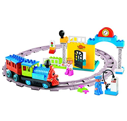(Minmi Motorized Train Set and Tracks Building Blocks - Battery Operated (53 Piece Set))