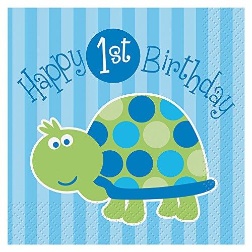 Turtle 1st Birthday Beverage Napkins, -