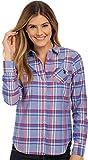 U.S. Polo Assn. Juniors' Long Sleeve Plaid Poplin Woven Shirt, 3383-Dazzling Blue, XL