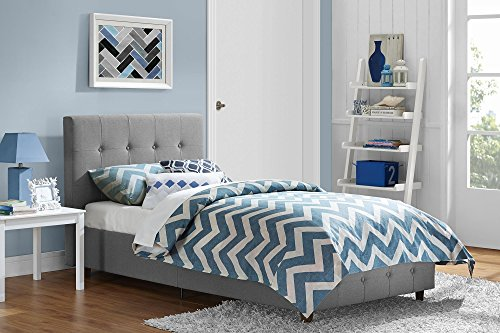 DHP Platform Bed, Rose Linen Tufted Upholstered Platform Bed - Includes Button Tufted Upholstered Headboard and Footboard, Twin Platform Bed - Grey (White Tufted Twin Bed)