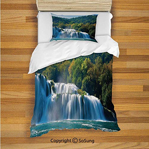 Waterfall Kids Duvet Cover Set Twin Size, Scenic Waterfall on The River and Forest Wild Space Life on Earth Photo 2 Piece Bedding Set with 1 Pillow Sham,Green Blue White Childrens Waterfall Back Recliner