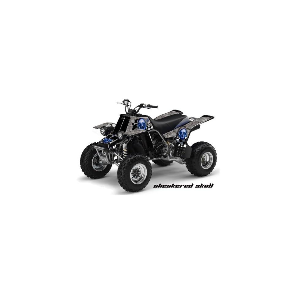 AMR Racing Yamaha Banshee 350 ATV Quad Graphic Kit   Checkered Skull Silver,