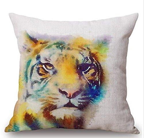 Watercolor animal Horse lion tiger owl giraffe bear Cotton Linen Square Decorative Throw Pillow Case Cushion Cover 18inchs ¡ (4)