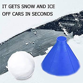 Portable Cone Shaped Funnel|Outdoor Windshield Magic Snow Remover Car Tool ASOSMOS Windshield Ice Scraper|Car Windshield 2 In 1 Scraper Clean Snow Remover Tools Kit