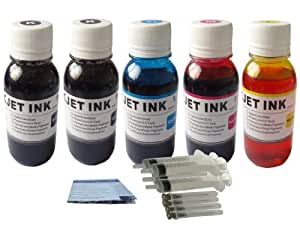 ND Brand 5x100ml Ink Refill Kit HP 564 564 XL Color & Black Cartridge for HP Photosmart 5510 5514 5520 6510 7510 C6350 C6380P D5445 D5460 D7560 B210a C309 C310a C6380 ,Photosmart Premium, Photosmart Fax C410a, Photosmart Pro B8550 printers.The item with ND logo.