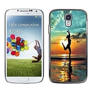 FECELL CITY // Duro Aluminio Pegatina PC Caso decorativo Funda Carcasa de Protección para Samsung Galaxy S4 I9500 // Beach Yoga Summer Shadow Relief