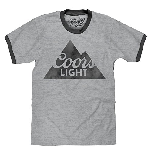 Tee Luv Coors Light T-Shirt - Coors Beer Ringer Shirt (Grey/Charcoal) (Medium) -