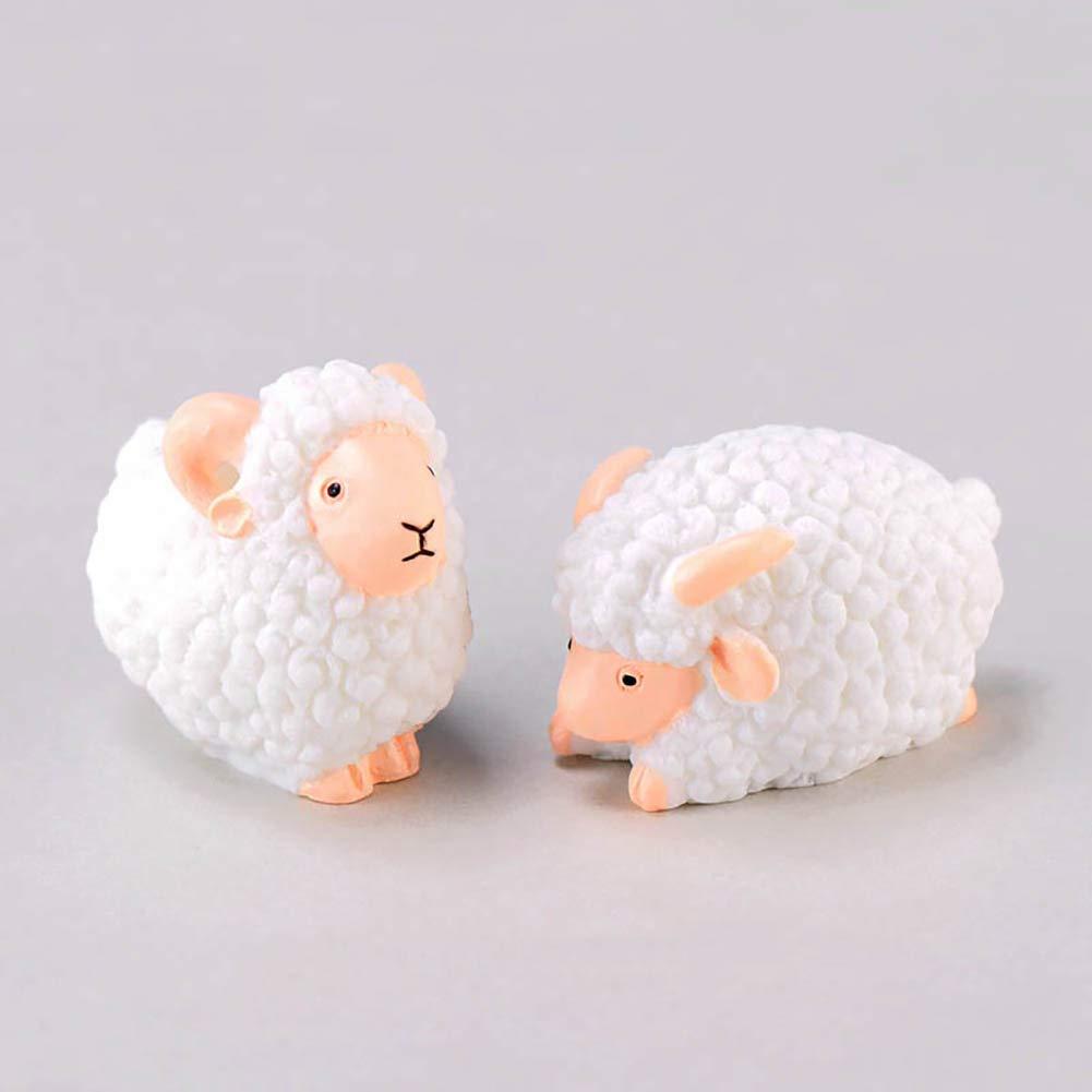happyhouse009 2Pcs DIY Sheep Miniature Ornament Accessories Landscape Bonsai Resin Ornament for DIY Fairy Garden Dollhouse Decoration