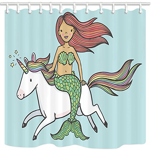 NYMB Turquoise Shower Curtain, Cute Mermaid Girl Riding a Unicorn for Kids, Mildew Resistant Polyester Fabric Shower Curtains for Bathroom, Bath Curtain Hooks Included, 69X70in by NYMB
