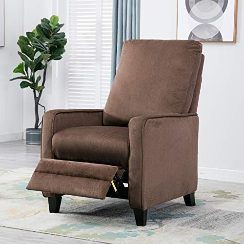 Mecor Pushback Recliner Chair Fabric Club Chair Manual Reclining Single Sofa Chair Living Room Furniture Home Theater Seating(Chocolate)