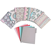 File Folders – 12-Pack Decorative File Folders, 6 Tribal Pattern Colorful File Folders, 6 Solid Colors Designer File Folders - Letter Size 1/3 Cut 1/2 Inch Top Memory Tab, 11.5 x 9.5 Inches