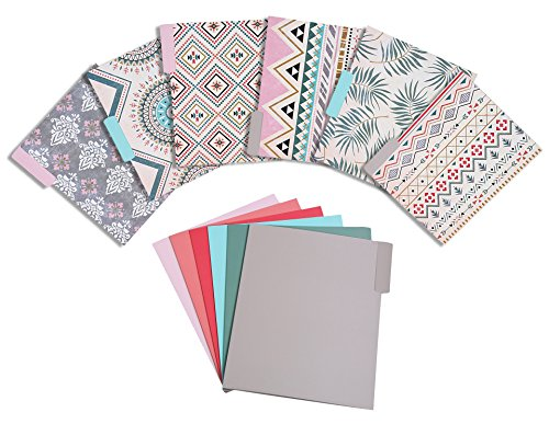 File Folders – 12-Pack Decorative File Folders, 6 Tribal Pattern Colorful File Folders, 6 Solid Colors Designer File Folders - Letter Size 1/3 Cut 1/2 Inch Top Memory Tab, 11.5 x 9.5 Inches Pastel Color File Folders
