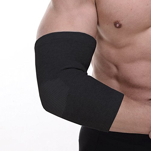 Senston Compression Recovery Elbow Sleeve Adjustable Elbow Brace Elbow support for Tendonitis,Arthritis,Tennis Elbow & Golf Elbow Treatment,Workout,Weight Lifting-Black M by Senston (Image #4)