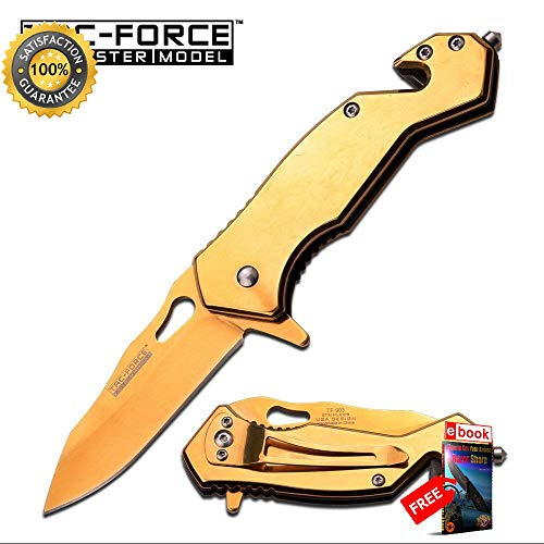 SPRING ASSISTED FOLDING POCKET Sharp KNIFE Tac-Force Mirror Gold Tactical Rescue EDC 903 Combat Tactical Knife + eBOOK by Moon Knives