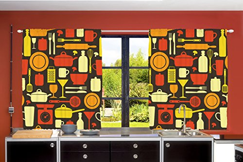 Ambesonne Country Farmhouse Decor Collection, Restaurant Suppliers Tableware Crockery Cutlery Themed Artwork, Window Treatments for Kitchen Dining Room Curtains 2 Panels Set, 55