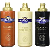 Ghirardelli Chocolate, White Chocolate, and Caramel Flavored Sauces,  Squeeze Bottles (Pack of 3)