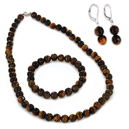 (West Coast Jewelry   ELYA Women's Sterling Silver Tiger's Eye Bracelet Earring and Necklace Set)