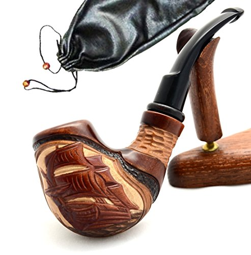 "Pear Wood Hand Carved Tobacco Smoking Pipe ""Ship II"" + Pouch"