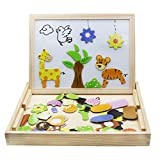 Magnetic Board Puzzle Games 100PCS Wooden Kids Toy For Home Cube Pootack Double Face Jigsaw& Drawing Easel Chalkboard Farm Pattern with Colored Dry Erase Markers