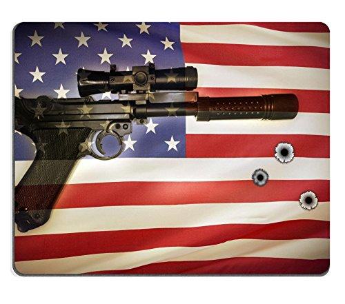 Liili Mouse Pad Natural Rubber Mousepad IMAGE ID: 18704538 Handgun and American flag idea