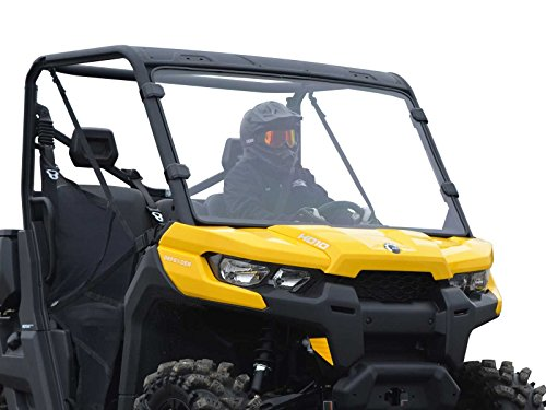 SuperATV Heavy Duty Scratch Resistant Full Windshield for Can-Am Defender HD 5/8 / 10 / MAX (2016+) - Easy to Install!