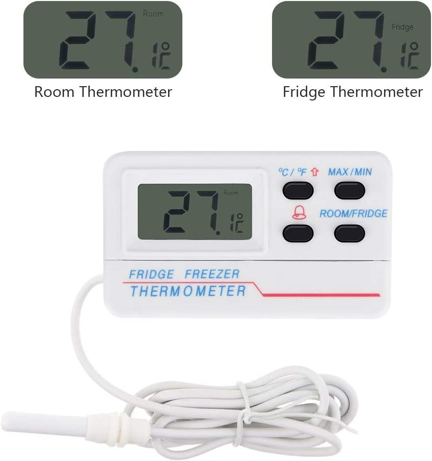 Refrigerator & Freezer Thermometer, WIOR Digital Indoor Outdoor Fridge Thermometer with Alarm, Max/Min Record Function with LCD Display, High & Low Temperature Alarms Settings, Highest Quality