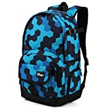 School Backpack for Boys, Ricky-H Lifestyle Travel Bag for Men & Women, Lightweight College Back Pack with Laptop Compartment-Hexagon Blue