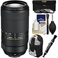 Nikon 70-300mm f/4.5-5.6E VR AF-P ED Zoom-Nikkor Lens with 3 UV/CPL/ND8 Filters + Backpack + Kit