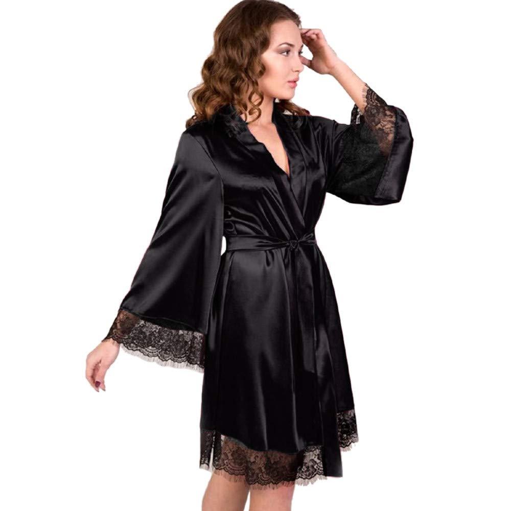 Pervobs Women Sleepwear Lingerie Sexy Soft Lace Temptation Belt Underwear Nightdress(S, Black) by Pervobs Tunics (Image #1)