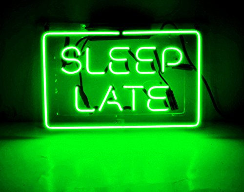 Night Light Lamp for Kids Girls Adults Babies Neon Light Sign Wall Decorative Lamp Glass Handmade for Home, Bedroom, Living Room, Hallway, Stairways, Garage, Windows, Beer, Bar - SLEEP LATE by Good Vibes Only
