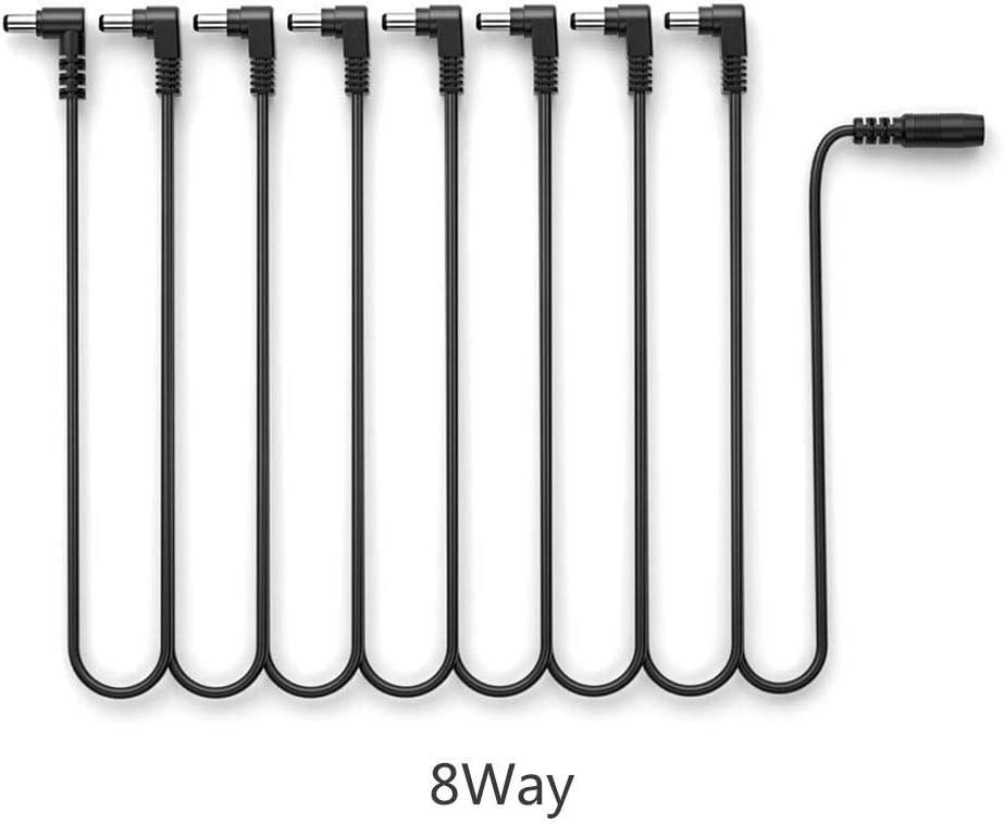 Findema 9V DC 3 4 5 6 8 Way Bend Angle Plug Daisy Chain Cable de alimentación para Pedales de Guitarra Power Splitter Adapter Converter