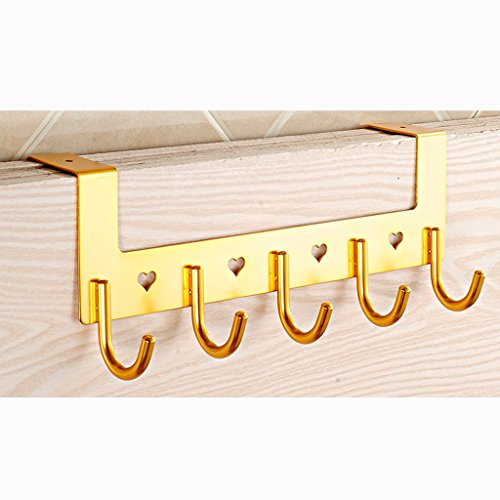 AIDELAI Coat Rack Coat Rack Hanging Hook Bathroom Bathroom Door Living Room Clothes Clothes Cloak Space Aluminum Creative Hook Row Hook (Color : Yellow) by AIDELAI (Image #2)