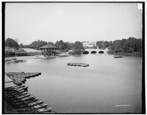 Photo: Boat landing,park,piers,wharves,Crystal Lake,canoes,Buffalo,New York,NY,1900