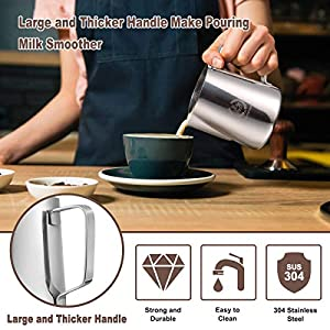 Milk Frothing Pitcher,HOMEMAXS Milk Frother Pitcher 20OZ/600ML , Stainless Steel Coffee Steaming Pitcher with Thickened-handle Art Pen, Easier to hold - Milk Frother Cup Espresso Frothing Pitcher from Homemaxs