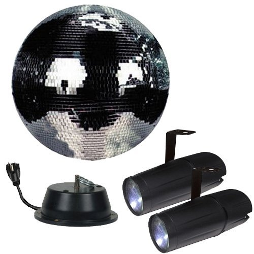 12'' Disco Mirror Ball Complete Party Kit with 2 LED Pinspots and Motor - Adkins Professional Lighting