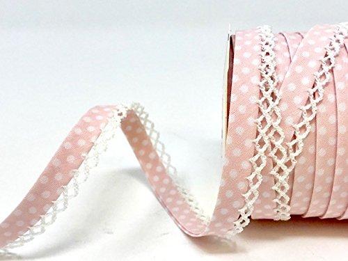 N.B.: Questo /è Un Tagliato da Un Rotolo Fany Rosa Pallido Bordo in Pizzo Pois Double Fold Bias Una Lunghezza di 3/m
