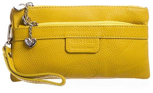 Big Handbag Shop Womens Genuine Italian Leather Multipockets Heart Charms Clutch Bag (Yellow) Heart Italian Bag