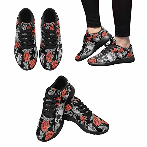 InterestPrint Womens Jogging Running Sneaker Lightweight Go Easy Walking Comfort Sports Running Shoes Patterns With Human Skulls Multi 1 ra90t2m