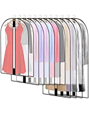 Pwsap 12 Pack Breathable Clothes Covers with Zip, Hanging Garment Covers Bags Dress Bag Covers Moth-Proof Mens Suit Storage Bag Dust Cover for Wardrobe Storage and Travel(Clear)