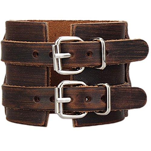 Y-blue Rivet Bracelets Genuine Leather Wide Cuff Casual Mens Large Alloy Bangle Press Stud Bracelet Adjustable (Double Leather Brown)