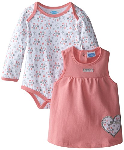 Infant Rosettes and Heart Bodysuit With French Terry Jumper Set, Multi, 18 Months (Bebe Rosette)