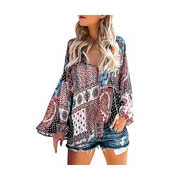 Yvelands Frauen Casual V Ausschnitt Langarm Blumendruck T Shirts Tops Bluse