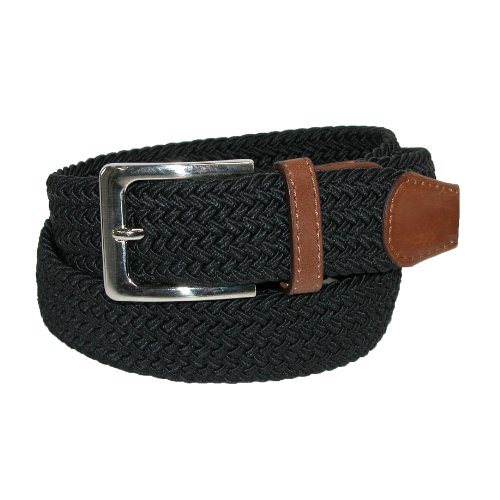 CTM Mens Elastic Silver Buckle with Tan Tabs Braided Stretch Belt, Large, Black - Buckle Tab
