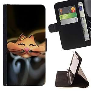 For HTC One M9 Case , Historieta linda feliz Negro- la tarjeta de Crédito Slots PU Funda de cuero Monedero caso cubierta de piel